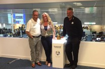 Sue at a special Ryder Cup event with Sam Torrance and Darren Clarke